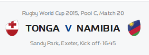 RWC Tonga v Namibia @ Fireman's Arms | Cape Town | Western Cape | South Africa