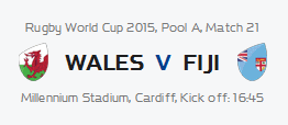 RWC Wales vs Fiji @ Fireman's Arms | Cape Town | Western Cape | South Africa